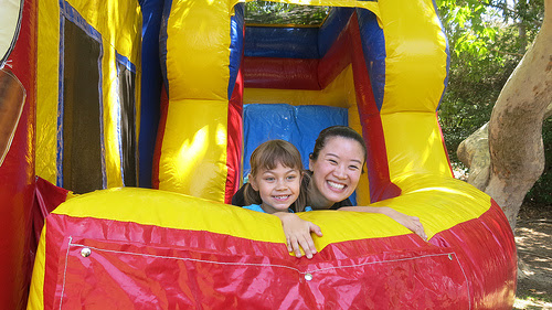 20141015 Rebecca Stolz sectionwars and daughter Grete in bounce house with Nancy Yao 16