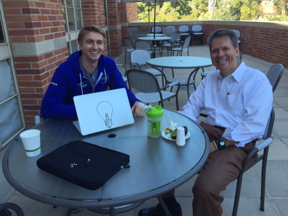 It's so great to get out of the office. I went up to the balcony to eat lunch today and sat with Andrew Sharp, new 18, who was on-campus, working remotely. Daniel works for OPower, and his company educates utilities through smart-data to find huge savings.