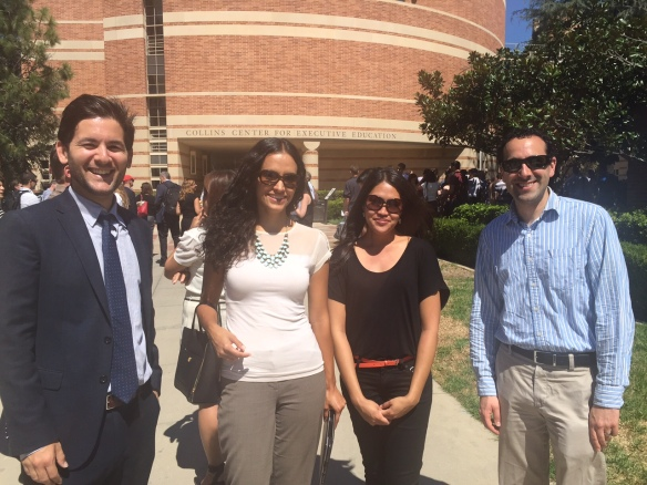 Today, during a fire drill, as we all stood outside we ran into Daniel Sacks 17, who had come by to get his parking permit. Daniel works for GG & A, a management consultancy focusing on higher ed. Daniel recently had a meeting with a UCLA Vice Chencellor! L-R Daniel, Christy, Vanessa and Matt of our FEMBA Admissions team