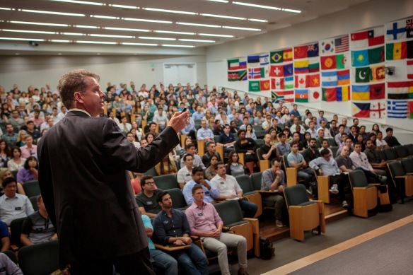 Here's what it is like to be me, address you--all 345 of you--on Day One of Leadership Foundations in Korn Hall!